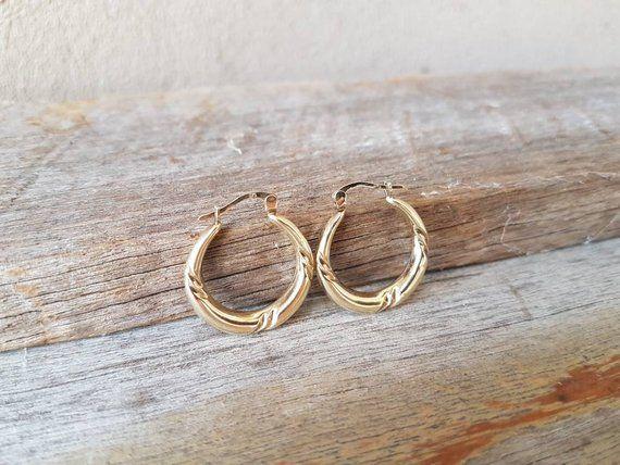Unoaerre Italy Vintage Gold Hoop Earrings 9ct Gold  Creole Hoops