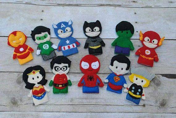 Títeres de dedo de superhéroe jugar tranquilo por CuteLittlePeas
