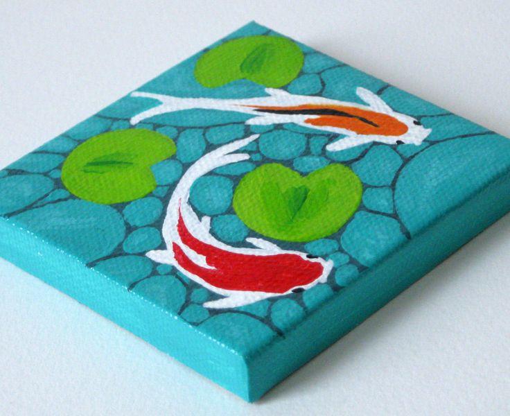 Koi Fish Pond / Original Painting / Mini Canvas Painting. $25.00, via Etsy.
