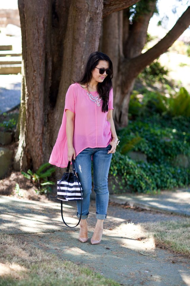 high low blouse and skinny jeans