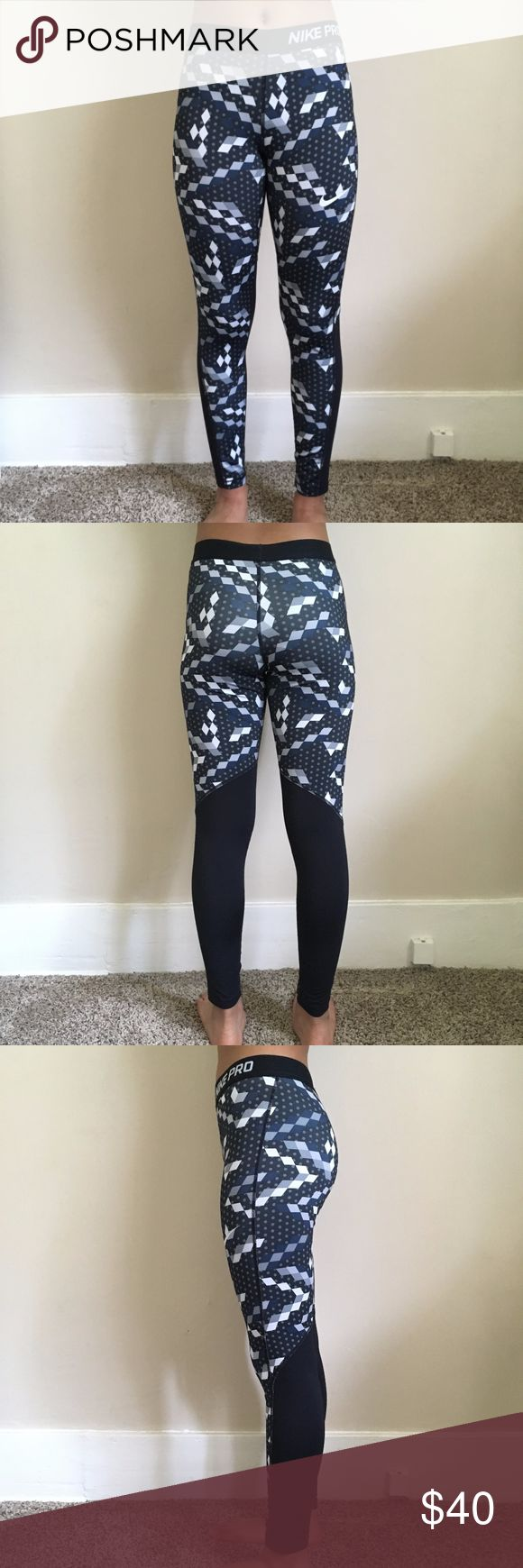 Nike Pro Dri-Fit Graphic Leggings These leggings have only been worn once and are in perfect condition. They are a Girls size XL but would fit a Women's XS-S. Nike Pants Leggings