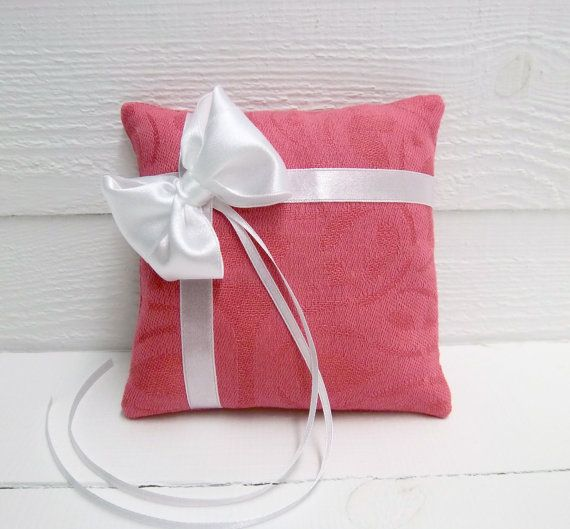 Hot Pink Wedding Ring Pillow with bow Ring Bearer Pillow Holder Wedding ceremony white ribbon via Etsy