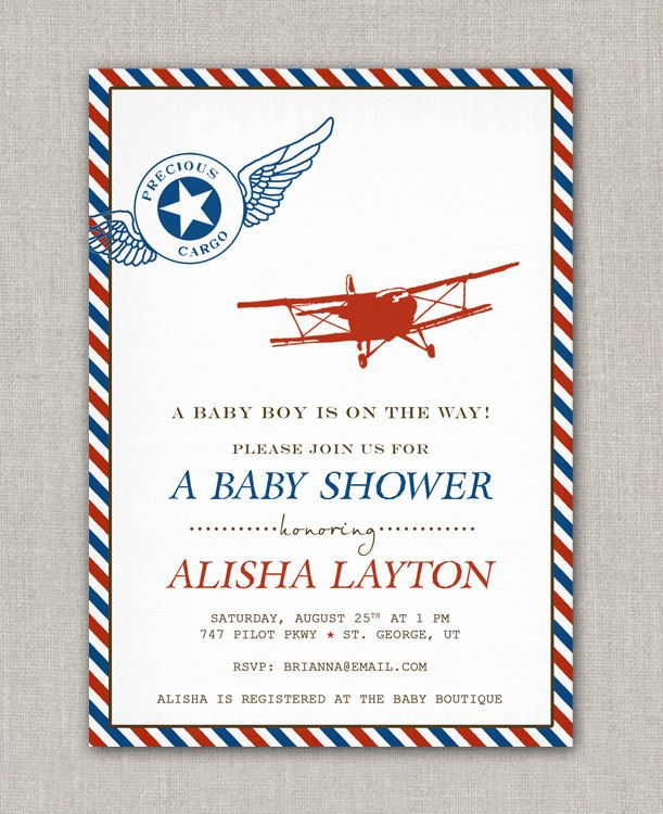 vintage airplane theme baby shower for a boy royal blue red