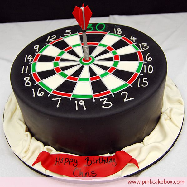 We created this dartboard cake for an avid dart player's 30th birthday party. The cake included red velvet cake with lemon cream cheese.