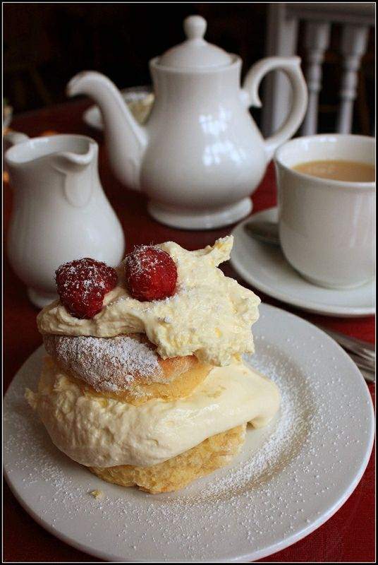 """""""Cream tea, a simpler version of afternoon tea, calls only for scones, jam, clotted or Devonshire cream,  and tea. This is a much less elaborate tea to plan for guests."""" -- taken from the book """"Scones  Tea: The Ultimate Collection of Recipes for Teatime"""" by Lorna Reeves / Photo: Cream Tea at Peterhead, Scotland by Katrinh"""