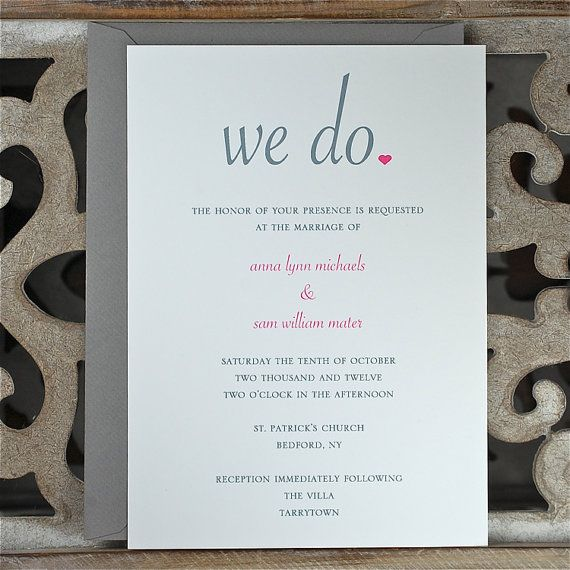 Wedding Invitations.  Wedding Invitation . Wedding Invites. Wedding Invite Sets - We Do on Etsy, $2.50