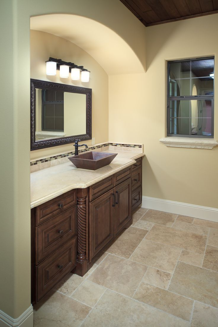 Villa Bimalina Master Bath Vanity With Copper Bowl Sinks And Travertine Countertop Notice The
