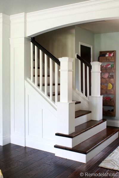 Painted Wood Stair Remodel...really want to paint the rails black like this.