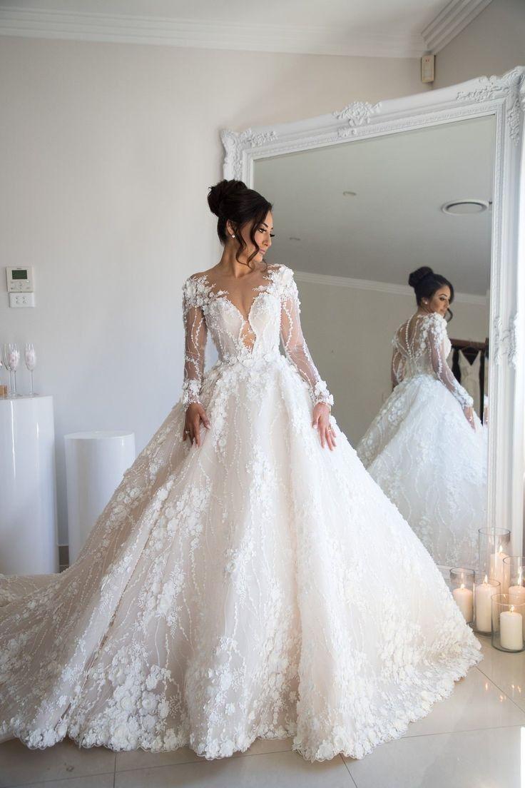 Blumenspitze Brautkleider Illusion Long Perlen Sleeves Beaded Floral Lace Wedding D Floral Lace Wedding Dress Ball Gowns Wedding Handmade Wedding Dresses [ 1104 x 736 Pixel ]