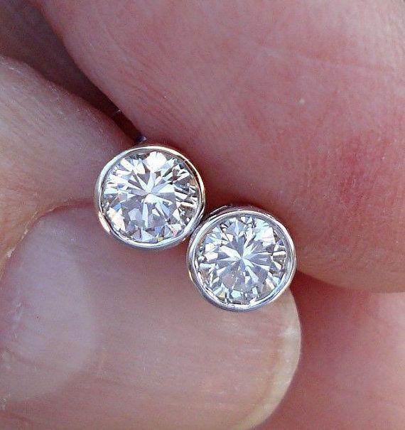 1/2 Carat White Gold Bezel Diamond Stud by LuxinelleJewelry