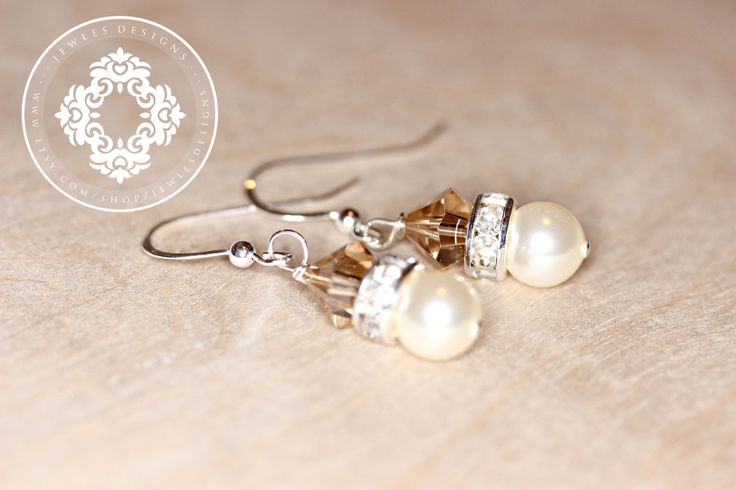 Drop Pearl Bridal Earrings,Swarovski, bridal party Earrings, Personalized gift, wedding Jewellery,bridesmaids gifts, by JewlesDesigns by JewlesDesigns on Etsy