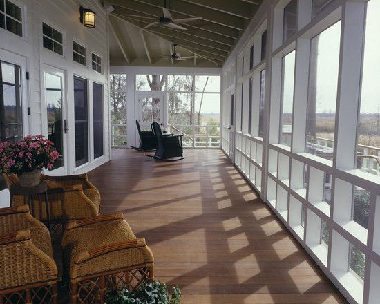 Can't get enough of these big wrap-around porches! Love this wide, screened-in style