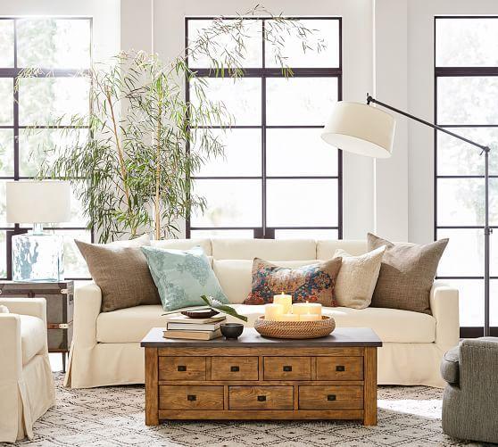 York Square Arm Deep Seat Slipcovered Sofa Living Room