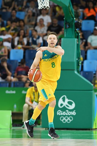 #RIO2016 Best of Day 1 - Matthew Dallavedova of Australia handles the ball against France on Day 1 of the Rio 2016 Olympic Games at Carioca Arena 1 on August 6 2016 in Rio de...