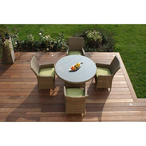 Aston Rattan Garden Furniture 4 Seat Round Dining Set Beige Cushions