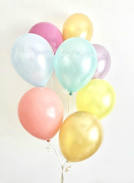Rainbow Pastel Balloon Bouquet.  Unicorn Party Decorations.  Pearl Latex Balloons.  7CT