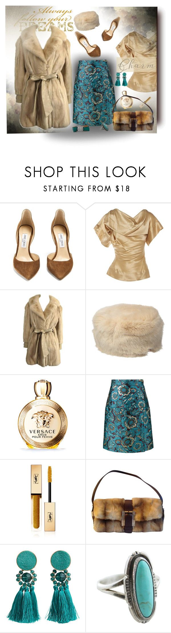 """27/2/2018"" by barbara-gennari ❤ liked on Polyvore featuring Jimmy Choo, Vivienne Westwood, Ted Baker, Versace, Dolce&Gabbana, Yves Saint Laurent, MANGO and GUESS"