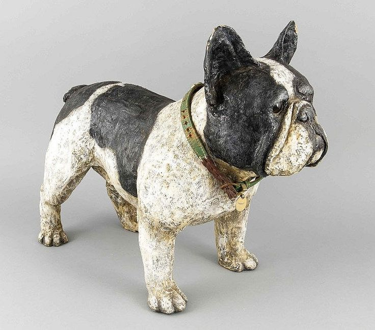 French Bulldog made of paper mache, nearly life size hand made with black and white painting with an ornate necklace.