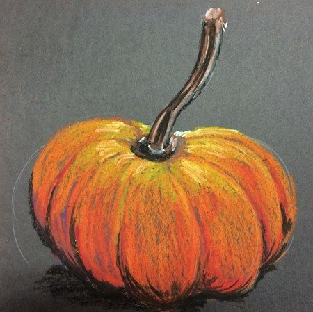 Value study, tints and shades, pumpkin in oil pastels on gray paper