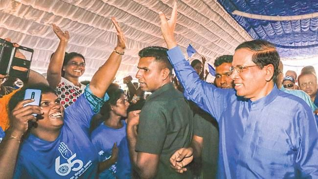 President Maithripala Sirisena greeting the massive crowd at the Sri Lanka…