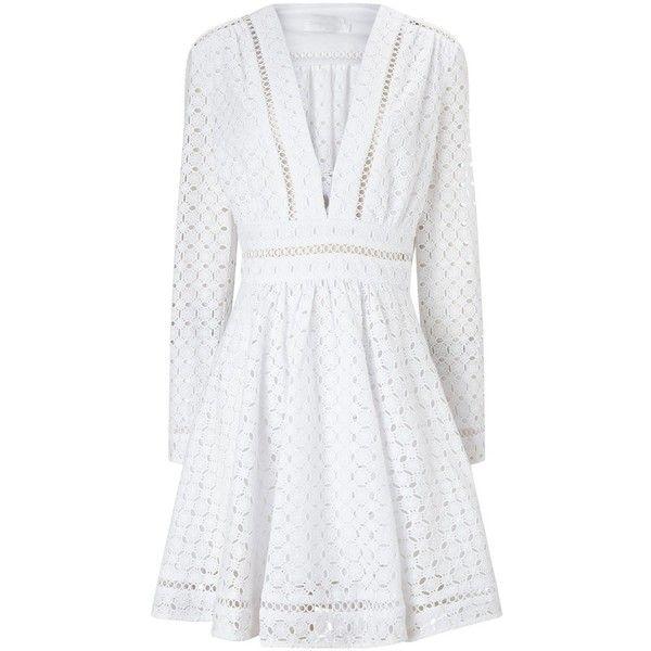 Zimmermann White Cotton Broderie Mini Dress ($635) ❤ liked on Polyvore featuring dresses, short dresses, white, white dress, white skater skirt, long sleeve dresses, white cotton dress and skater skirt