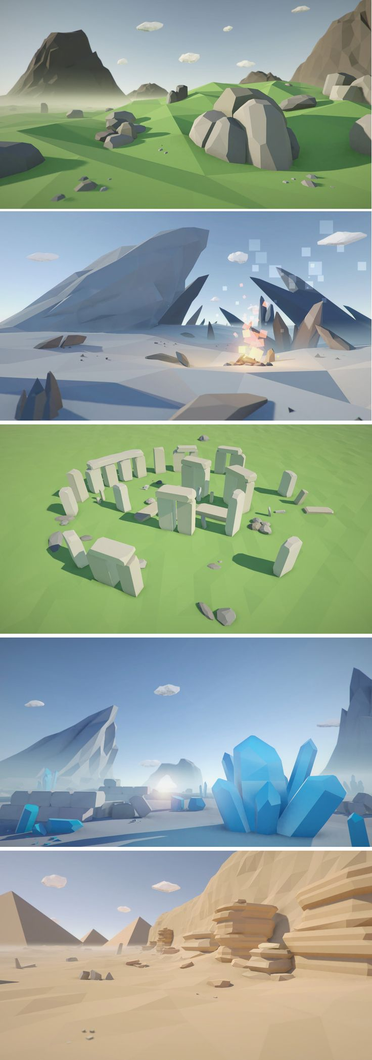 Low Poly Rocks Pack This package contains a huge variety of different rocks ready to use for your game levels. Just drag and drop prefabs to your scene and achieve beautiful results in no time. PC & mobile friendly.