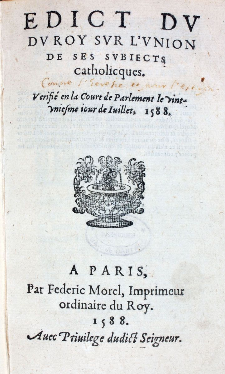 The Edict of Union (1588) The Edict of Nantes was an edict of pacification, the last in a long line, since eight similar texts had preceded it (including six edicts and two treaties). Edicts of pacification were laws that took the form of orders; they were spread by means of letters patent addressed to all of the king's subjects, and they had to be formally registered in each of the country's parlements. The variety of solutions imagined by the king and his retinue needed these laws to…