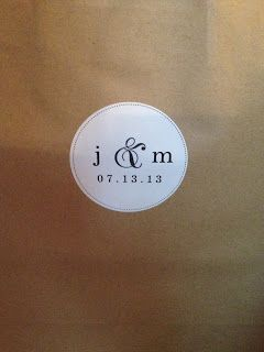 Customized wedding stickers on our welcome bags. Read about what's inside on the blog!