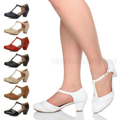 Womens ladies block low mid heel smart work Mary Jane T-bar brogue court shoes