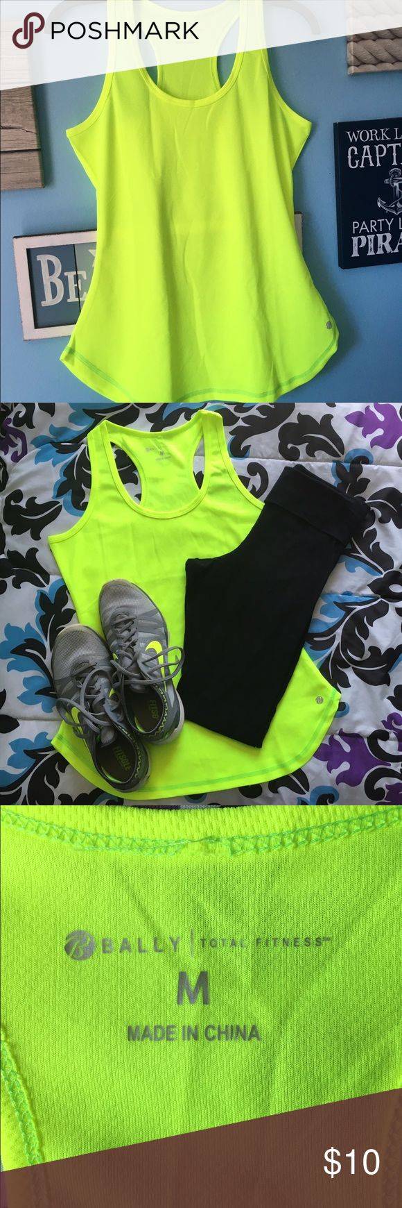 Bally Neon Yellow Tank Top Breathable tank top that is ready for spring workouts! Perfect flare for a slightly more feminine silhouette. Size medium but could fit small or medium - worn once Bally Tops Tank Tops
