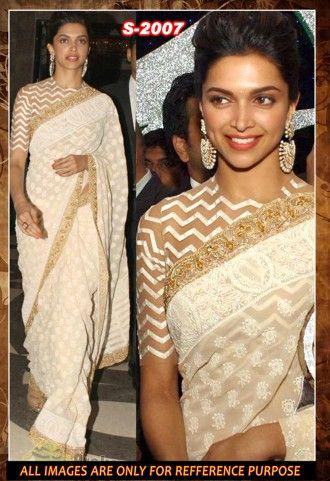 Deepika Padukone Designer Cream And Off White Net And Georgette Designer Saree