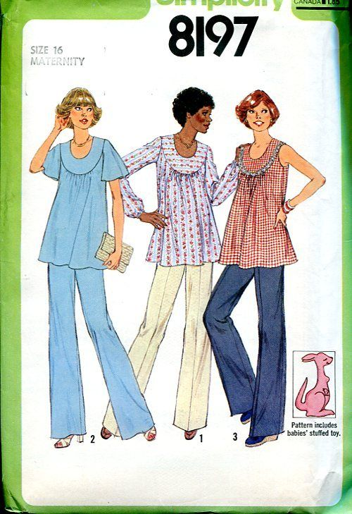 Sewing Patterns Vintage Out of Print Retro,Over 7000 ,Vogue Simplicity McCall's - Simplicity 8197 Retro 1970's Maternity Top Pants Baby Stuffed Toy Kangaroo