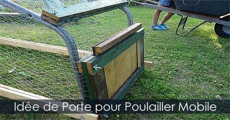 Étapes pour construire ou fabriquer un poulailler mobile - Comment installer une porte amovible sur un poulailler sur roues. Instructions: http://www.jardinage-quebec.com/guide/construire-un-poulailler-mobile/poulailler-sur-roues-5.html