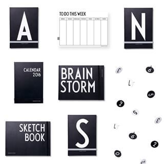 Stationery for the home or to go. Personal notebooks, weekly planner, calendar, Sketch Book, Brain Storm and monochrome pins. All featuring AJ Vintage ABC.