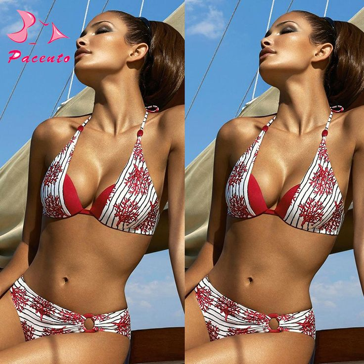New Vintage Women Retro Sexy Halter Print Striped Biquini Feminino Praia 2017 Brasileiro Swiming Suit Swimwear Female Plavky XXL