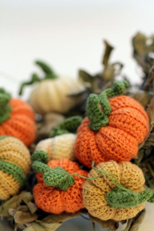 what you sow crochet pumpkins on a wreath of sage