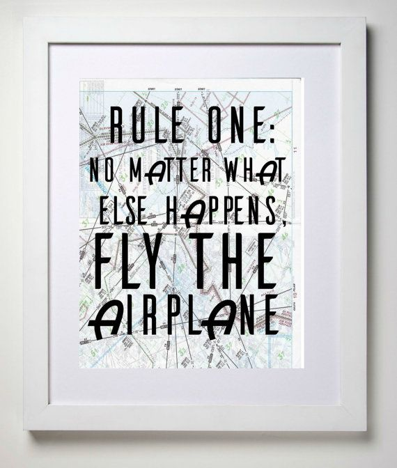 Fly the Airplane, 8x10 Aviation Map Art Print, Rules of Flying, Wall Decor, Pilot Gift, Aviation Themed Office Decor