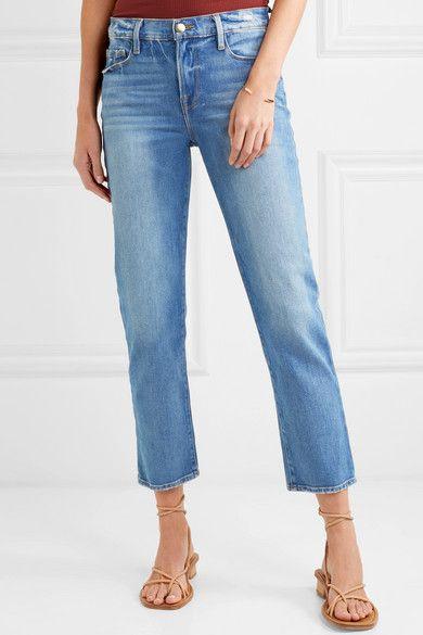 94a66887 FRAME - Le Nouveau cropped mid-rise straight-leg jeans | Straight leg |  Jeans, Bell bottom jeans, Net a porter