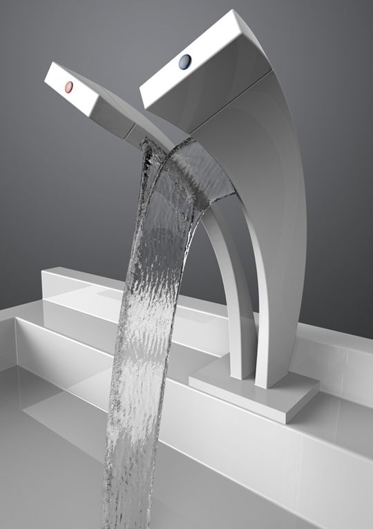 Rubinetto Dual Stream, futuristica cascata d'acqua - Ideare casa #waterfall #bathroom #futuristic