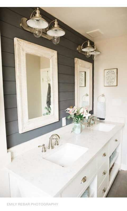 Loving this Modern Farmhouse bathroom with the dark shiplap, perhaps some inspo for our next project with Metrie Option{M}!