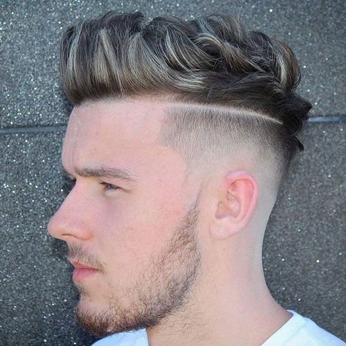 Disconnected High Fade and Hard Part with Quiff