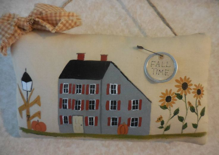 Primitive Autumn House Folk Art Fall Sunflowers Wall Hanging Pillow Tuck by auntiemeowsprims on Etsy