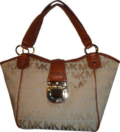 Women\u0027s Michael Kors Purse Handbag Medium Tote RTW JQD Charlton  Beige/Camel/Luggage Michael