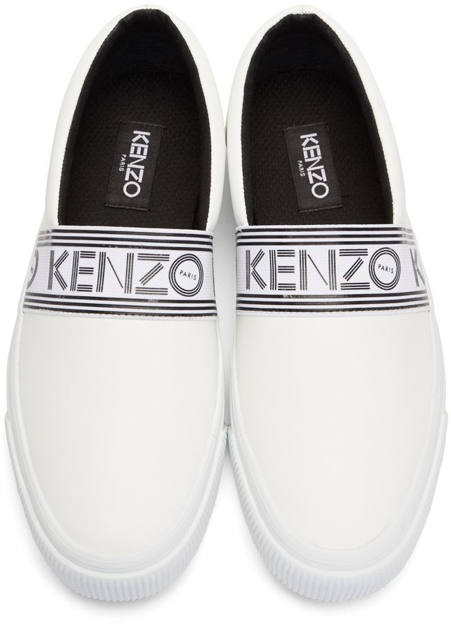 1c550d21ad Kenzo - White Leather Kapri Slip-On Sneakers Mens Fashion, Shoes, Vans  Classic