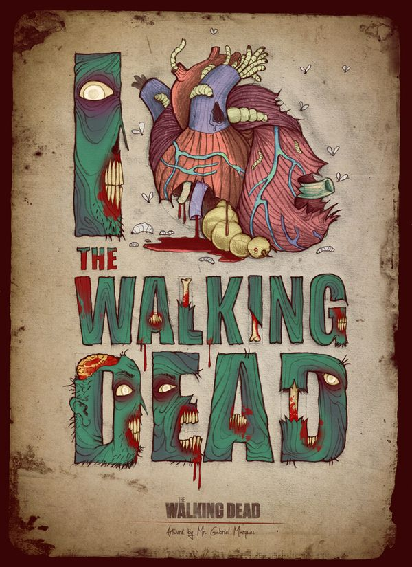 Poster Series of 'The Walking Dead' - created by Gabriel Marques (Amazing fan art and typographic illustrations)