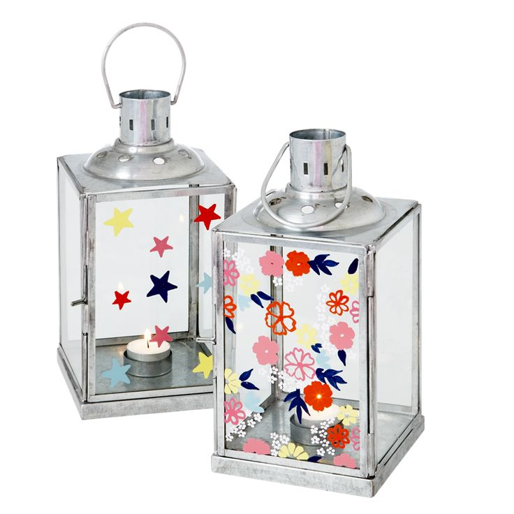 Galvanized Lanterns with Handpainted Glass - Rice A/S