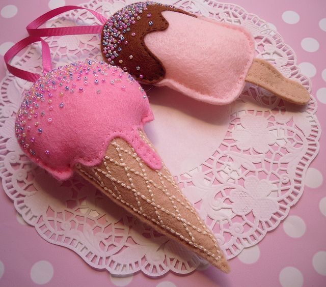 Felt ice-cream and ice-lolly set