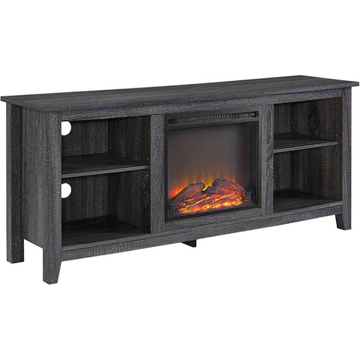 walker edison media stand with builtin electric fireplace for most flatpanel