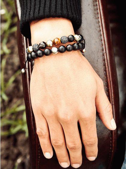 Mixed Semi Precious Stones & Black Swarovski Crystal Bracelet 3145 - Northskull