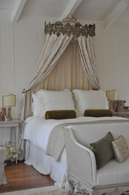 gorgeous bed corona with antique Fortuny fabric